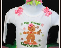First Christmas Gingerbread body suit onesie ONLY sizes N, 0-3 m, 3-6m, 6-12m, 12 months, 18 months