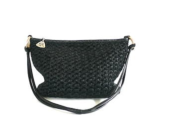 Vintage Morris Moskowitz Black Crochet Hobo Bag // Made in USA