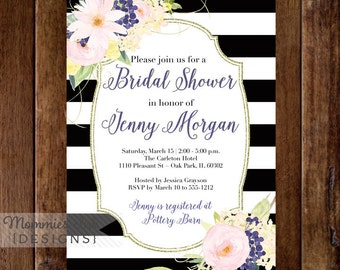 Watercolor Flowers Bridal Shower Invitation, Black and White Stripes Shower Invitation, Watercolor Floral, Pink and Purple Flowers, Modern