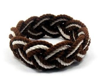 Surfer Rope Sailor Knot Bracelet in Brown and White Cotton Sailor Bracelet