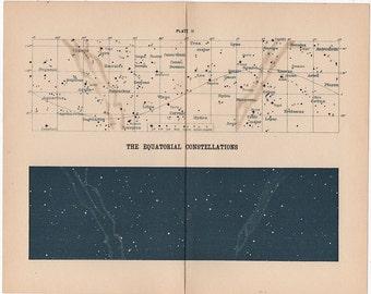 1903 equatorial constellations print rare original antique celestial astronomy lithograph
