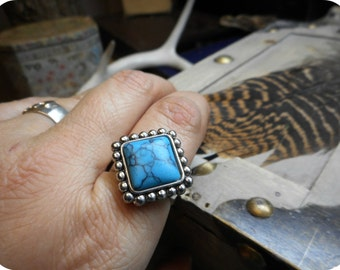 The Virden Cocktail ring. Turquoise square pillow cabochon and antique silver ring.