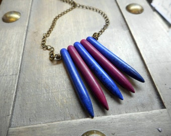 Fuchsia & Blue Howlite Spike Urban Rustic Edgy necklace