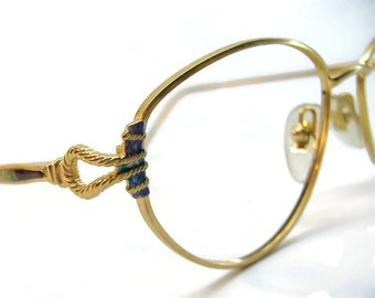 Vintage Gold 80s Cateye Eyeglasses Eyewear With BluishPurple Stone Looking Accents Frame France NOS