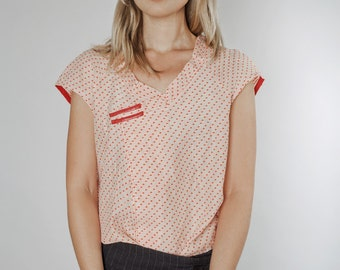 Ivory white red dots blouse, red leather stripes
