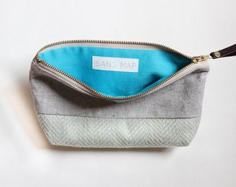 EMILIE Makeup bag, cosmetic case, grey and herringbone blue