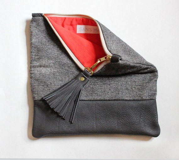 ELODIE leather clutch, fold over clutch in dark grey