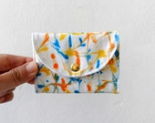 Business Card Holder, Credit Card Holder, Small Wallet, Hand Marbled Blue Yellow snap closure wallet