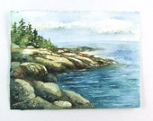 Original Watercolor Landscape - Rocky Shore West Coast