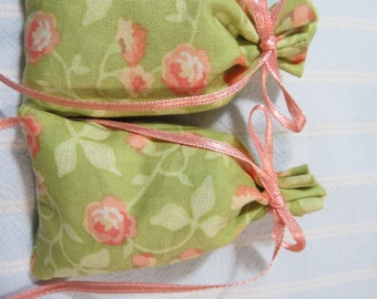 "Green 3""X2"" Sachet-'Spring Blossom' Fragrance-Peach Sachet-Peach Ribbon-Cotton Fabric Herbal Sachet-Cindy's Loft-572"