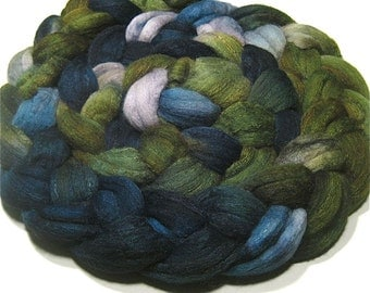 Merino & tussah silk roving - hand dyed spinning and felting fiber - 4.7 oz Stream Bed - hand painted combed top - fiber