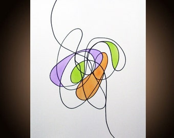 Original Abstract Painting Abstract Art Minimalist Modern Art Fine Art Contemporary Loft Canvas Acrylic Ink 16 x 20 Len Dickson