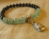 Black Tourmaline and Green Aventurine Buddha Bracelet; Protection, Healing, Energy, Chakra, Yoga, Wrist Mala, Japa