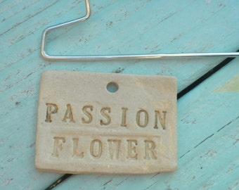 Handmade Ceramic Passion Flower Plant Marker