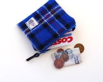 HARRIS TWEED small purse, blue tartan, Handmade in Scotland