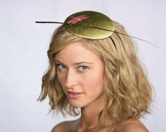 Cocktail Hat Fascinator Button Gold Pink Dragonfly