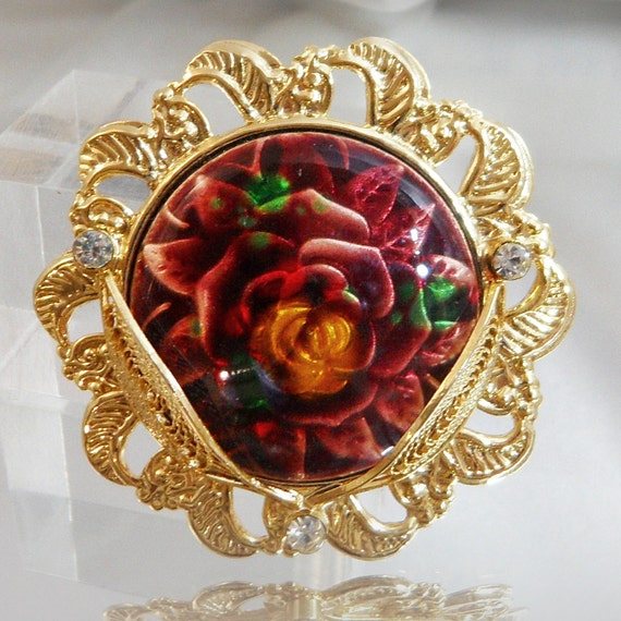 Vintage rose under glass brooch cannetille gold leaves for Rose under glass