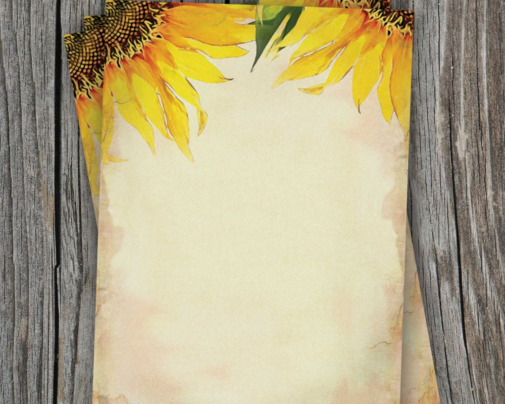 blank sunflower wedding paper 5 x 7 for printable note
