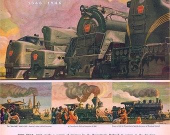 vintage mid century poster railroad locomotive train illustration digital download