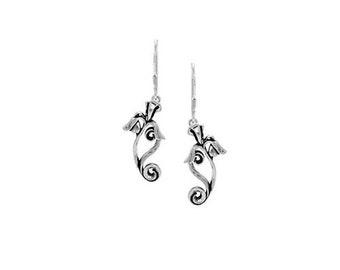 Iris Flower Earrings in Sterling Silver