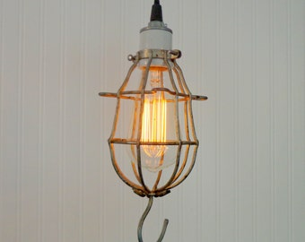Union. Industrial Bulb Cage PENDANT Light with Edison Bulb - Rustic Farmhouse Ceiling Flush Mount Lighting Fixture Cabin Repurpose LampGoods