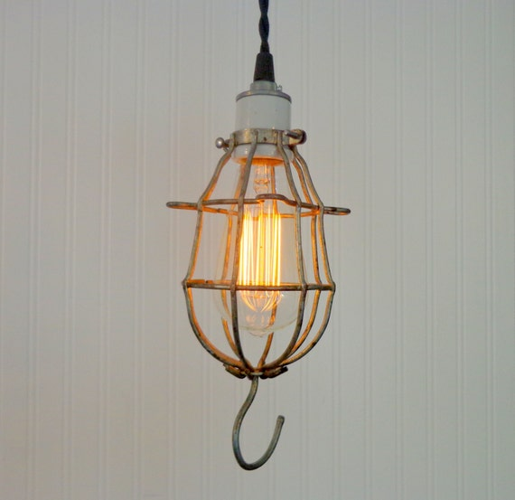 Just Reduced Rustic Handmade 3 Bulb Hanging Light Fixture Or: Union. Industrial Bulb Cage PENDANT Light With Edison Bulb