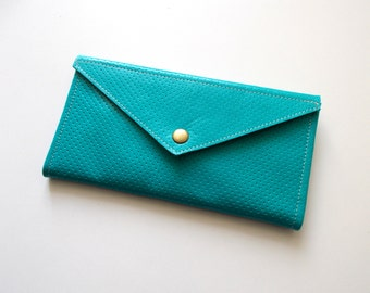 Envelope  wallet , leather  women wallet - Turquoise