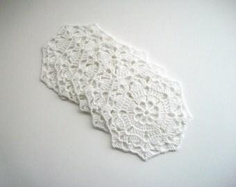 Crochet Coaster Set White Cotton Lace Mug Mats 5 pcs