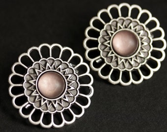 Set of Two Viking Shoulder Brooches. Pink Norse Brooches. Pink Satin Glass and Aged Silver Apron Pins. Historical Reenactment Jewelry.