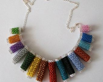 Rainbow Seed Bead Necklace