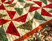 HomeDecor Autumnal Quilt Cotton, Woodland With Bright Colors -Green and Gold Small Quilt - Table Top Quilt - Wall Quilt