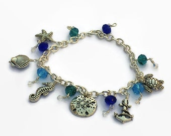 Freshwater Pearl or Crystal Beach Charm Bracelet, Starfish Shell Seahorse Sand Dollar Anchor Sea Turtle, Gifts for Women Mom Sister Grandma