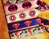 5 Pack Superhero Batman Superman Wonder Woman Print Knot Hair Ties Fold Over Elastic Stretch Bracelet by Whimsical Elements