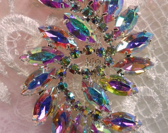 "ACT/XR120 Aurora Borealis Marquise Swirl Crystal AB Rhinestone Applique Embellishment 2.75"" (ACT/XR120-slcab)"