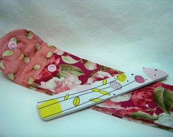 PK Board Case in Packed Camellias in Rose - Nail File Case - Emery Board Case - Pencil or Pen Case - Purse Accessory - Ready To Ship