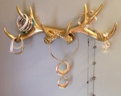 ONE DAY SALE faux deer antler rack jewelry organizer jewelry holder scarf organizer coat rack gold antlers antler wall decor gold antlers