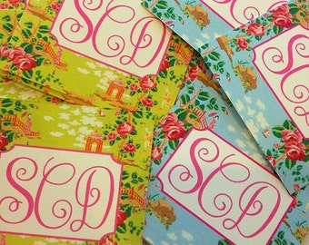 Monogram chinoiserie inspired gift tags