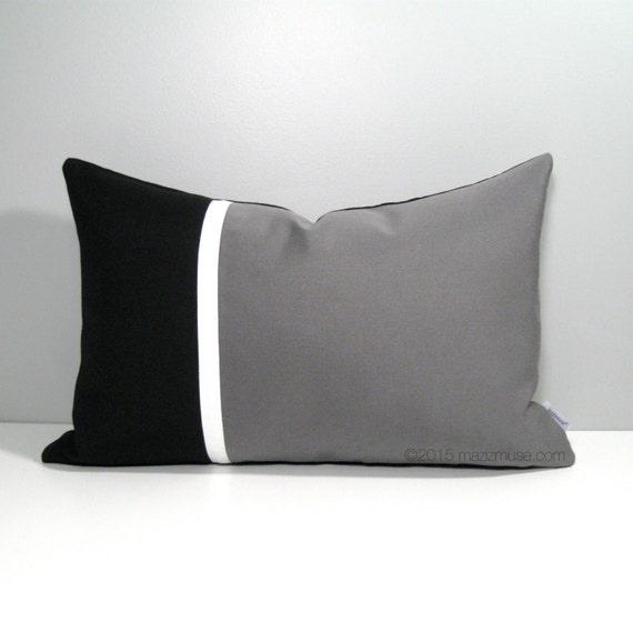 Black & Grey Outdoor Pillow Cover Modern Sunbrella Pillow