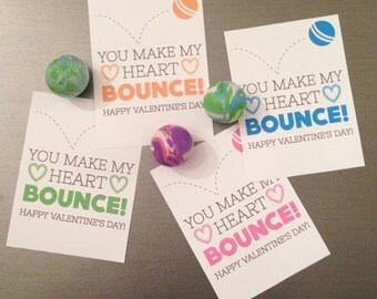 You Make My Heart Bounce Bouncy Ball Valentine Printable in Blue Orange Pink Green