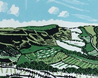 Big Sky on the Edge Original Linocut Print
