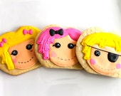 Adorable sewn doll cookie favors - one dozen