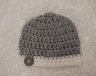 Hand Crocheted Newborn Baby Boy Beanie Cap With Button