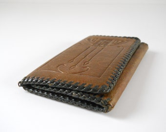 Vintage Leather Trifold Wallet • Deco Tooled Leather Wallet