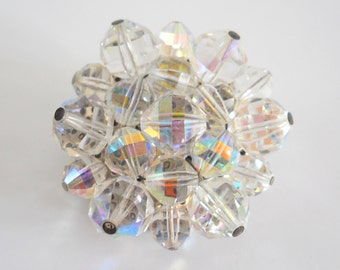 Vintage Crystal Brooch • Mid Century Pin Silver Color and Glass