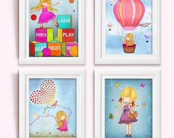 Art Print, Drawing, print poster, illustration, wall decor, Set of 4 posters