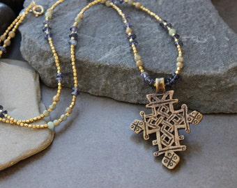 Tribal Brass Cross Pendant, Talisman Pendant,, Brass Spiritual necklace,Gemstone tribal necklace, Long necklace