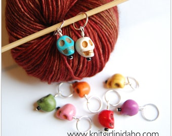 LARGE Colorful Skull Stitch Markers (Set of 8)