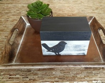 MODERN  Country Recipe Box Black and White with Bird