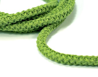 Braided cotton cord, 12mm thick rope, green (1m)