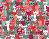Cats Fabric by Makower UK Many Multicolored Smiling Kittens in a Row Teal White Gray Pink
